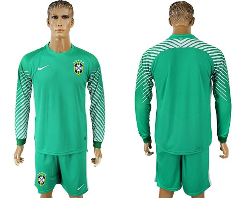 Brazil Blank Green Goalkeeper Long Sleeves Soccer Country Jersey