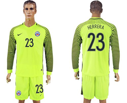 Chile #23 Herrera Green Long Sleeves Goalkeeper Soccer Country Jersey