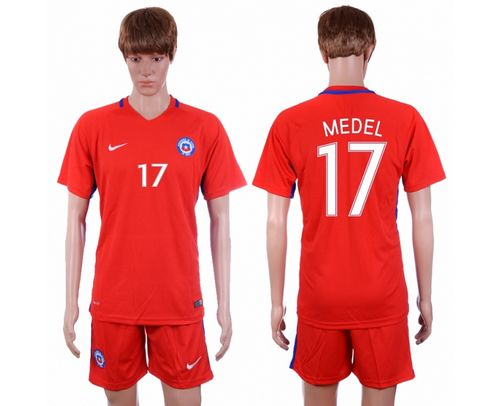 Chile #17 Medel Home Soccer Country Jersey