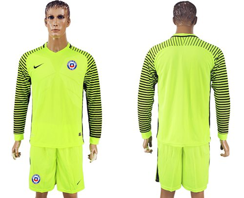 Chile Blank Green Long Sleeves Goalkeeper Soccer Country Jersey