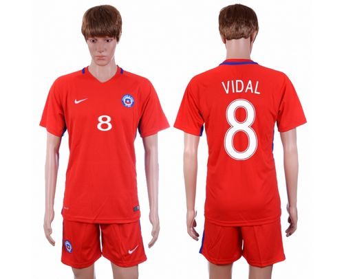 Chile #8 Vidal Home Soccer Country Jersey
