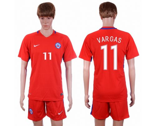 Chile #11 Vargas Home Soccer Country Jersey