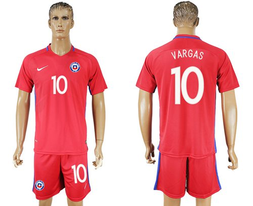 Chile #10 Vargas Home Soccer Country Jersey