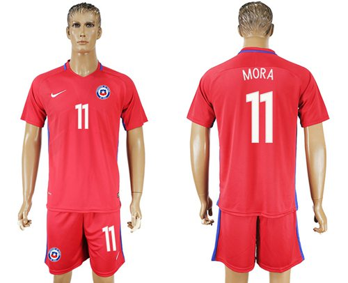 Chile #11 Mora Home Soccer Country Jersey