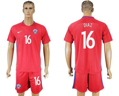 Chile #16 Diaz Home Soccer Country Jersey