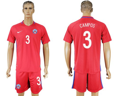 Chile #3 Campos Home Soccer Country Jersey