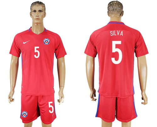 Chile #5 Silva Home Soccer Country Jersey