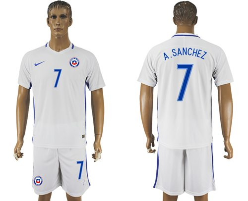 Chile #7 A.Sanchez Away Soccer Country Jersey