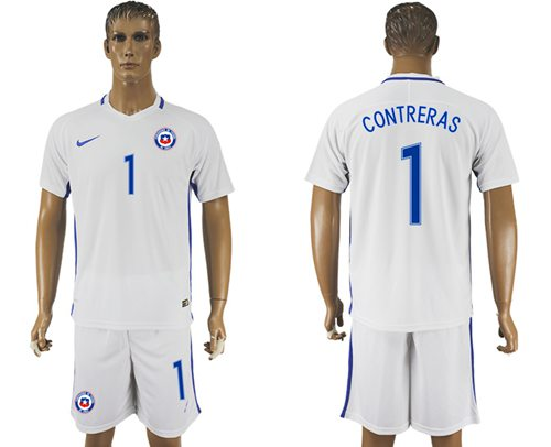 Chile #1 Contreras Away Soccer Country Jersey