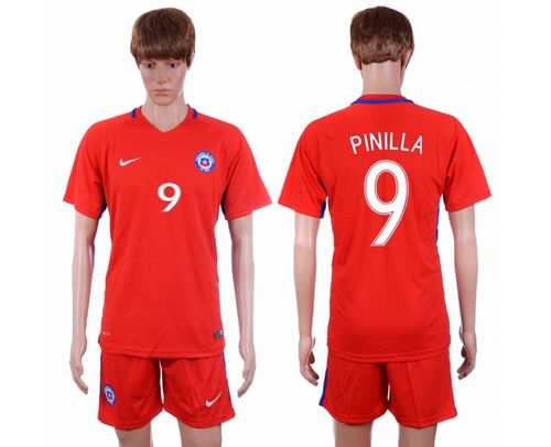 Chile #9 Pinilla Home Soccer Country Jersey
