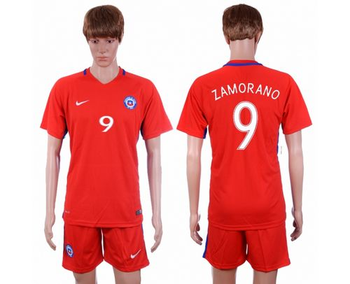 Chile #9 Zamorano Home Soccer Country Jersey