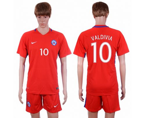 Chile #10 Valdivia Home Soccer Country Jersey