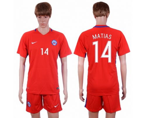 Chile #14 Matias Home Soccer Country Jersey