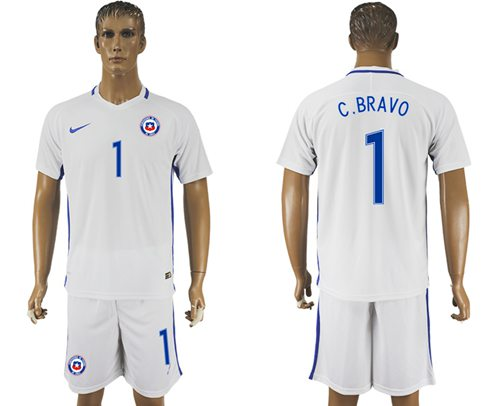 Chile #1 C.Bravo Away Soccer Country Jersey