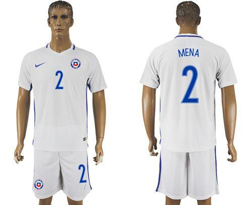 Chile #2 Mena Away Soccer Country Jersey