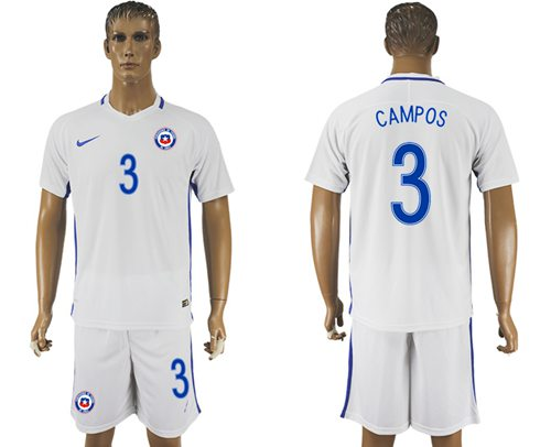 Chile #3 Campos Away Soccer Country Jersey