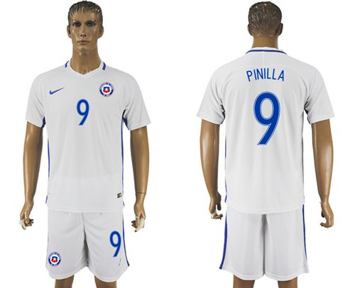 Chile #9 Pinilla Away Soccer Country Jersey