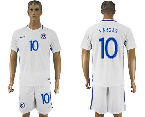 Chile #10 Vargas Away Soccer Country Jersey