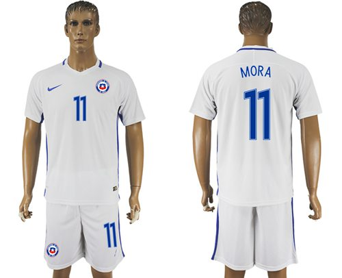 Chile #11 Mora Away Soccer Country Jersey