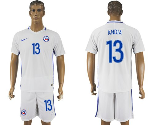 Chile #13 Andia Away Soccer Country Jersey