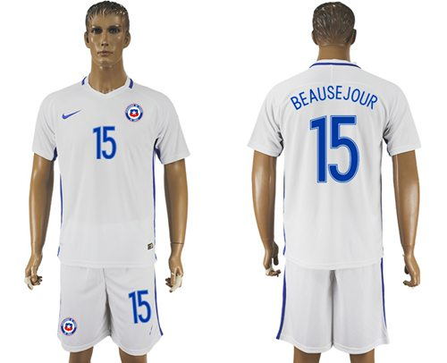 Chile #15 Beausejour Away Soccer Country Jersey