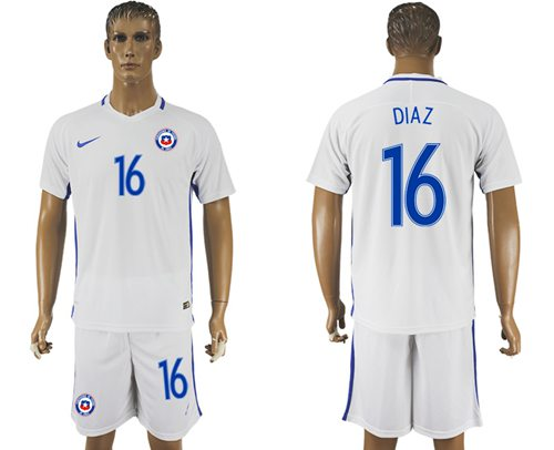 Chile #16 Diaz Away Soccer Country Jersey