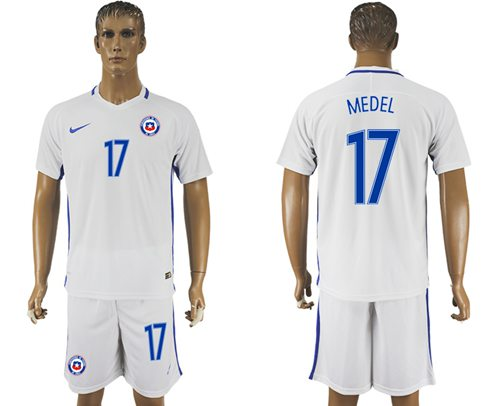 Chile #17 Medel Away Soccer Country Jersey