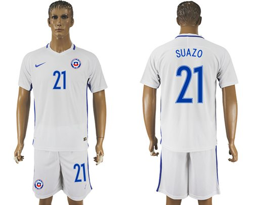 Chile #21 Suazo Away Soccer Country Jersey