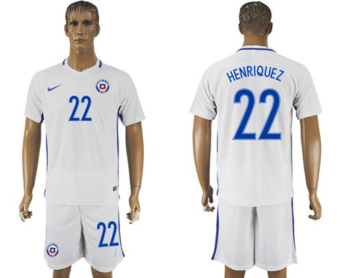 Chile #22 Henriquez Away Soccer Country Jersey