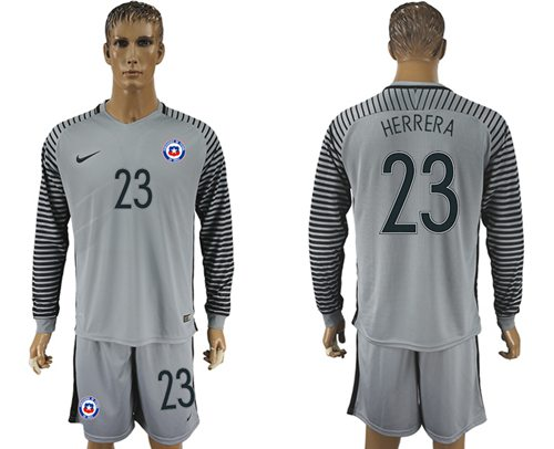 Chile #23 Herrera Grey Goalkeeper Long Sleeves Soccer Country Jersey