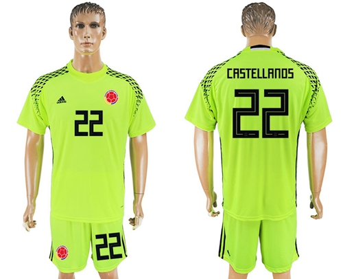 Colombia #22 Castellanos Shiny Green Goalkeeper Soccer Country Jersey