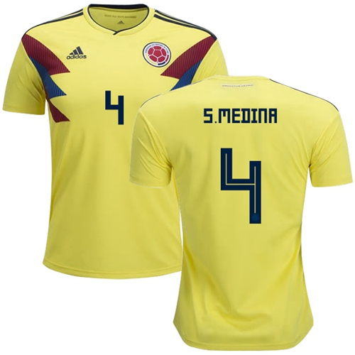 Colombia #4 S.Medina Home Soccer Country Jersey