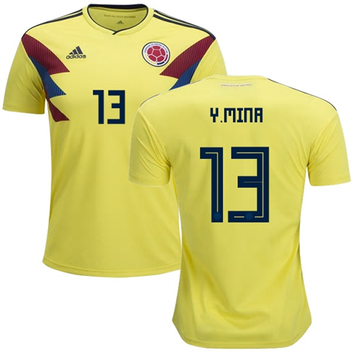 Colombia #13 Y.Mina Home Soccer Country Jersey
