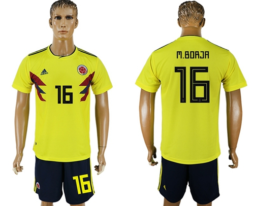 Colombia #16 M.Borja Home Soccer Country Jersey