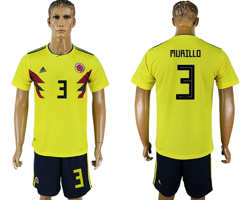 Colombia #3 Murillo Home Soccer Country Jersey