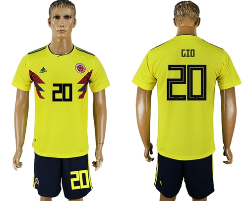 Colombia #20 Gio Home Soccer Country Jersey
