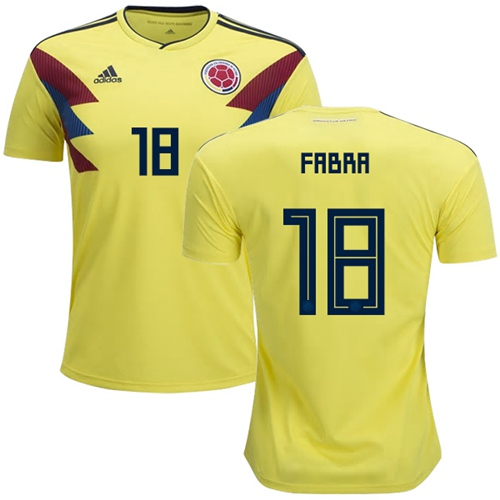 Colombia #18 Fabra Home Soccer Country Jersey
