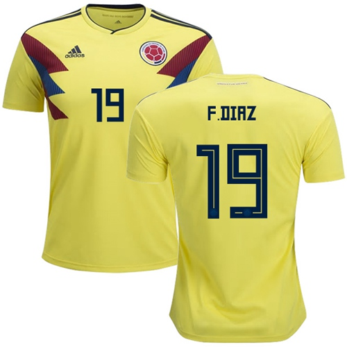Colombia #19 F.Diaz Home Soccer Country Jersey