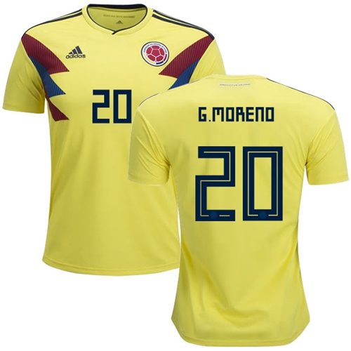 Colombia #20 G.Moreno Home Soccer Country Jersey