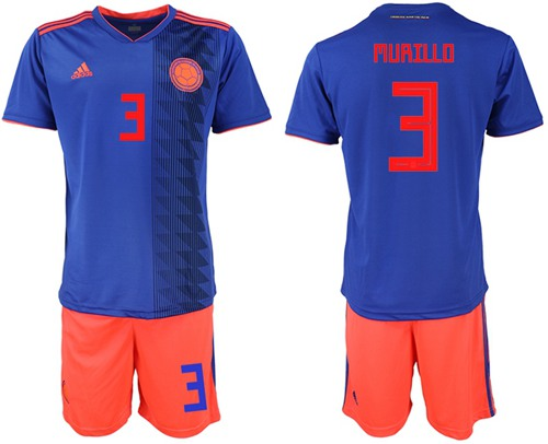 Colombia #3 Murillo Away Soccer Country Jersey