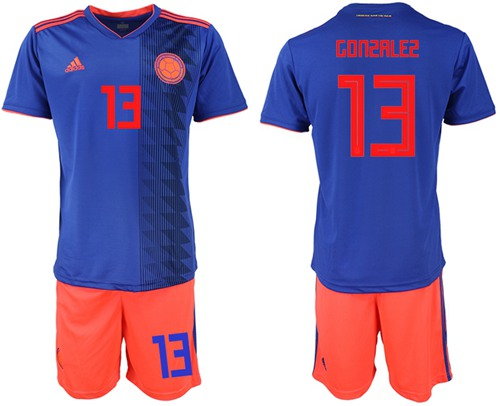 Colombia #13 Gonzalez Away Soccer Country Jersey