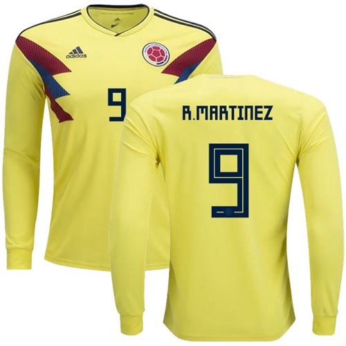 Colombia #9 R.Martinez Home Long Sleeves Soccer Country Jersey
