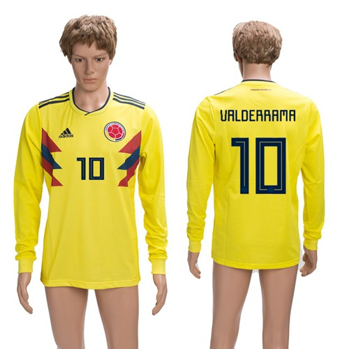 Colombia #10 Valderrama Home Long Sleeves Soccer Country Jersey