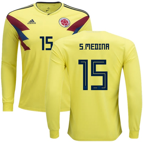 Colombia #15 S.Medina Home Long Sleeves Soccer Country Jersey