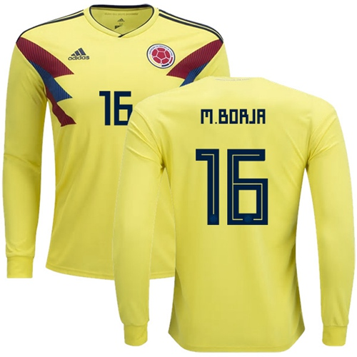Colombia #16 M.Borja Home Long Sleeves Soccer Country Jersey