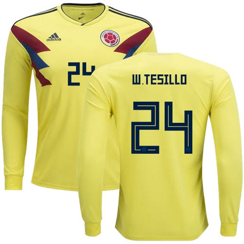 Colombia #24 W.Tesillo Home Long Sleeves Soccer Country Jersey
