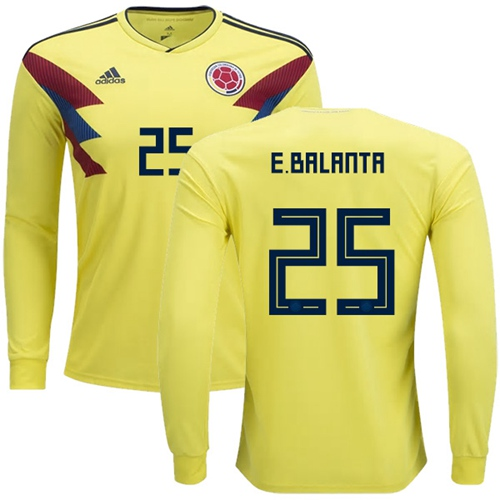Colombia #25 E.Balanta Home Long Sleeves Soccer Country Jersey