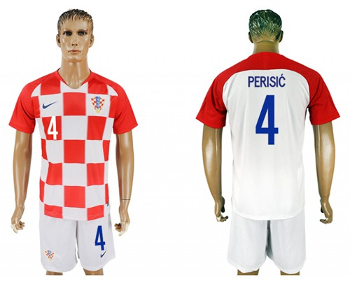 Croatia #4 Perisic Home Soccer Country Jersey