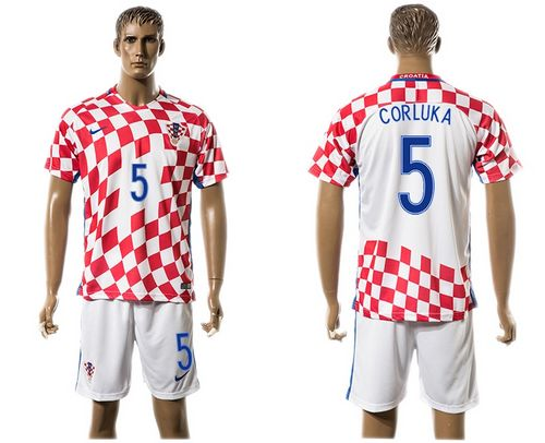Croatia #5 Corluka Home Soccer Country Jersey