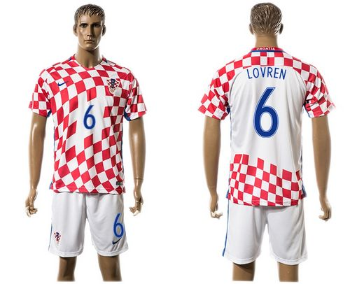 Croatia #6 Lovren Home Soccer Country Jersey